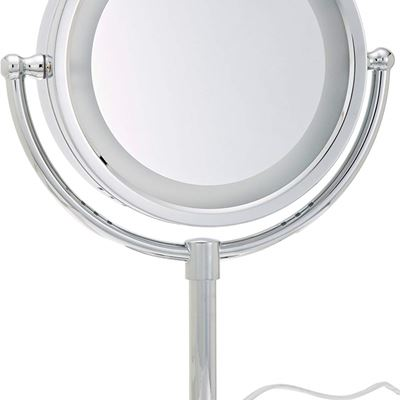 New Jerdon HL745CO 8.5-Inch Tabletop Two-Sided Swivel Halo Lighted Vanity Mirror with 5x Magnification and Built-In Electrical Outlet Chrome Finish