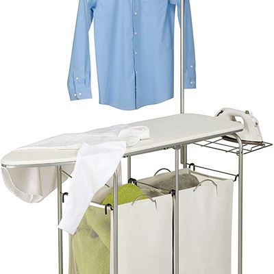 USED Honey-Can-Do Rolling Laundry Sorter with Ironing Board and Shirt Hanger