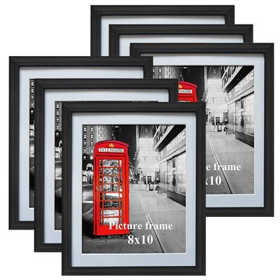 NEW 8x10 Black Picture Frames with Mat for Wall or Table Top Decoration, Set of 6