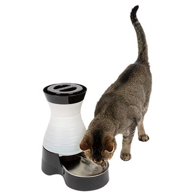 NEW PetSafe Healthy Pet Water Station, Gravity Dog and Cat Water System with Stainless Steel Bowl, Small, 64 oz.