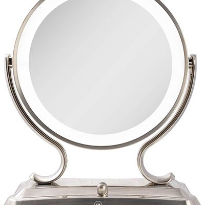 NEW Zadro Products Surround Light dual sided Glamour 5x/1x Magnification Vanity Mirror, Satin Nickel