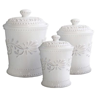 NEW American Atelier 3-Piece Bianca Leaves Canister Set
