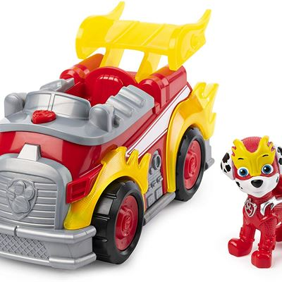 NEW PAW Patrol, Mighty Pups Super Paws Marshall�s Deluxe Vehicle with Lights and Sounds
