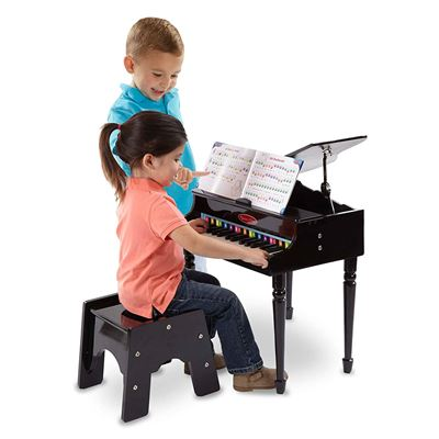 NEW Melissa & Doug Learn-to-Play Classic Grand Piano with 30 Keys, Color-Coded Songbook, and Non-Tip Bench