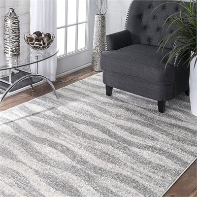 NEW nuLOOM 200BDSM02A-508 Machine Made Contemporary, Solid and Striped 100 Percent Polypropylene Grey Rug (5-Feet X 8-Feet)
