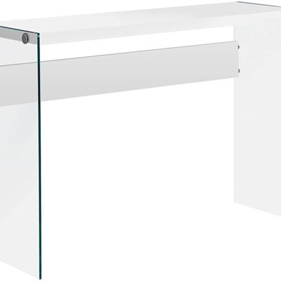 NEW Monarch Specialties I 3288 Glossy White Hollow-Core/Tempered Glass Sofa Table, 32""