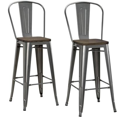 "NEW DHP Luxor Metal Counter Stool with Wood Seat and Backrest, Set of Two, 30"", Antique Gun Metal"