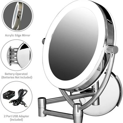 NEW Ovente MLW45CH 9.5-Inch LED Lighted Wall Mount Makeup Mirror, 1x/10 Magnification, Polished Chrome