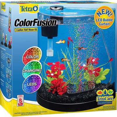 Tetra Aquarium Kit with ColourFusion LED Colour Changing Lights, 3 Gallon Half Moon Curved Fish Tank, Bubbling Disk