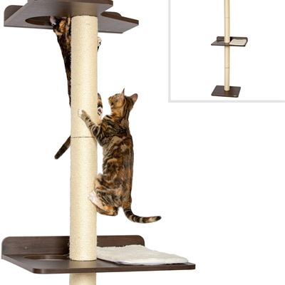 PetFusion Ultimate Cat Climbing Tower & Activity Tree. (24 x 20.8 x 76.8 inches (lwh) Tall Sisal Scratching Posts, Modern Wall Mounted cat Furniture