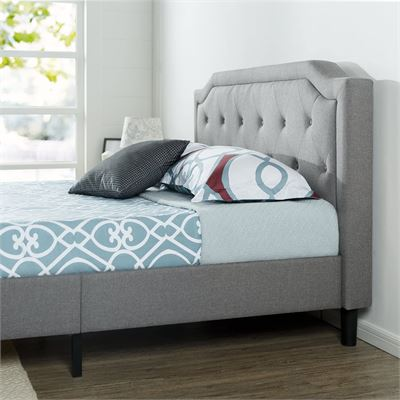 NEW Zinus Upholstered Scalloped Button Tufted Platform Bed with Wooden Slat Support / Design Award Finalist, Queen
