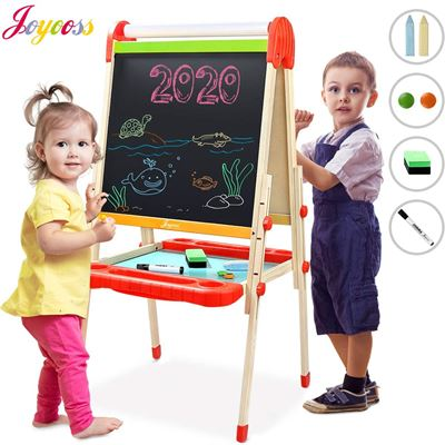 NEW Joyooss Kids Wooden Art Easel with Paper Roll -Double Sided Whiteboard & Chalkboard Children Easel -Adjustable Height Magnetic Dry Easel Drawing