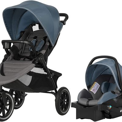 NEW Evenflo Folio3 Stroll and Jog Travel System with LiteMax 35 Infant Car Seat (Skyline)