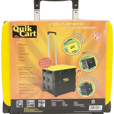NEW Ultra Compact Quik Cart Two-Wheeled Collapsible Handcart with Lid Rolling Utility Cart