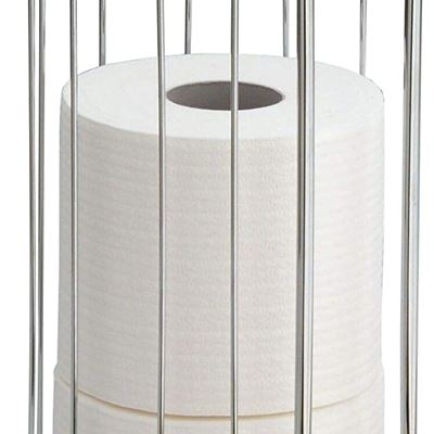 "NEW iDesign Classico Metal Toilet Paper Reserve, Over The Tank Tissue Organizer for Bathroom Storage, 6.25"" x 6.25"" x 14.5"", Chrome"