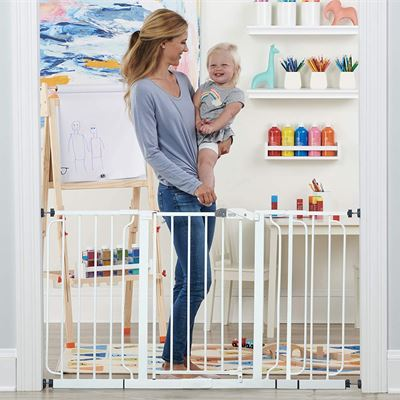 NEW Regalo 56-Inch Extra WideSpan Walk Through Baby Gate, Bonus Kit, Includes 4-Inch, 8-Inch and 12-Inch Extension