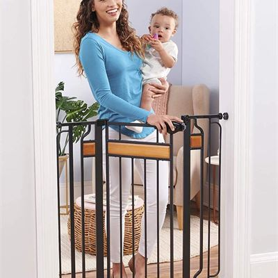 NEW Regalo Home Accents Extra Tall and Wide Walk Thru Baby Gate, 4-Inch Extension Kit, 4-Inch Extension Kit, 4 Pack of Pressure Mount Kit
