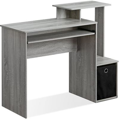 NEW Furinno 12095GYW Econ Multipurpose Home Office Computer Writing Desk with Bin, French Oak Grey