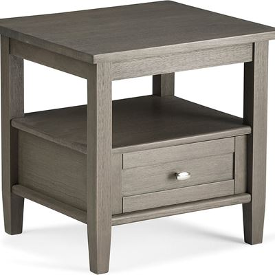 LIKE NEW Simpli Home Warm Shaker Solid Wood End Side Table, Farmhouse Grey