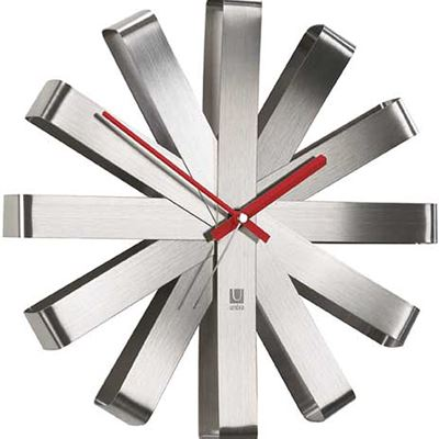Umbra Ribbon Modern Wall Clock, Silent Non Ticking Battery Operated Quartz Movement, Stainless Steel