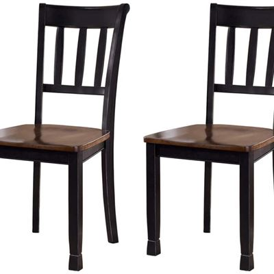 NEW Signature Design by Ashley Furniture-Owingsville Dining Room Chair-Set of 2-Casual Style-Black/Brown