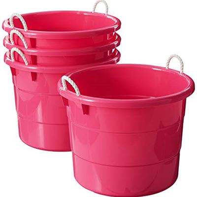 NEW Homz Plastic Utility Tub with Rope Handles, 18 Gallon, Pink, Set of 4