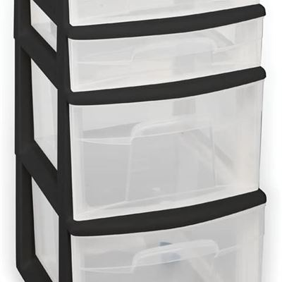 NEW Homz Plastic 4 Drawer Medium Cart, Black Frame with Clear Drawers, Casters, Set of 1