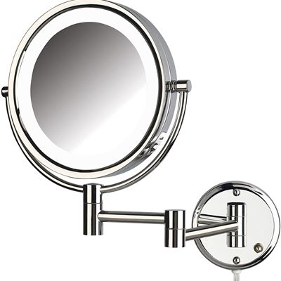 NEW Jerdon HL88CL Two-Sided Swivel LED Lighted Wall Mount Mirror with 8x Magnification Chrome Finish, 8.5-Inch, 64.8-Ounce