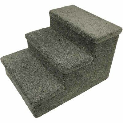USED Penn Plax 3 Step Carpeted Pet Stairs for Both Cats and Dogs Holds Up To 150 LBS 19-INCH