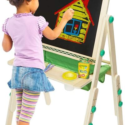 NEW Crayola Kid's Deluxe Wooden Easel, Dry Erase Board & Chalkboard, Holiday Toys,Wood Toy, Educational Toy, Wooden Learning, Gift for Boys and Girls