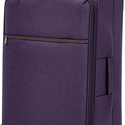 NEW AmazonBasics Belltown Softside Rolling Spinner Suitcase Luggage - 25 Inch, Heather Purple