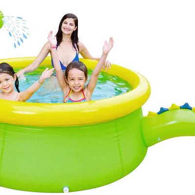 "USED Lunvon Inflatable Swimming Pool for Kids, Dinosaur Pool Sprinkler Water Toys, Size 69"" X 24.5"", Kiddie Pool for Age 3+"