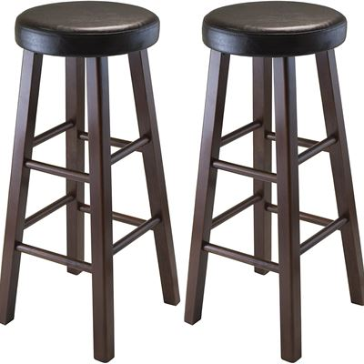 NEW Winsome Wood Marta Assembled Round Bar Stool with PU Leather Cushion Seat and Square Legs, 30.3-Inch, Set of 2