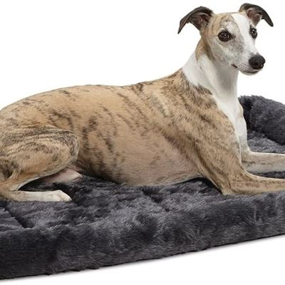 LIKE NEW 36L-Inch Gray Dog Bed or Cat Bed w/Comfortable Bolster | Ideal for Medium/Large Dog Breeds & Fits a 36-Inch Dog Crate