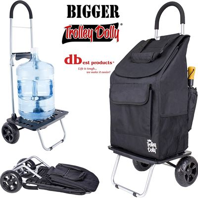 NEW Bigger Trolley Dolly, Black Shopping Grocery Foldable Cart