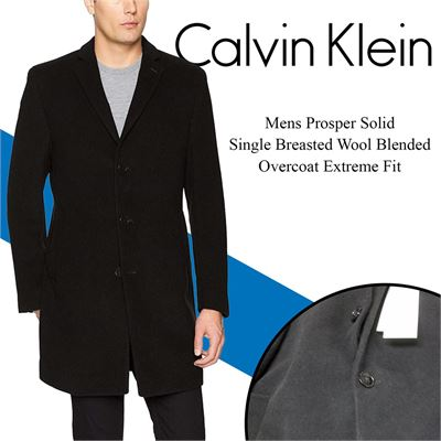 NEW Calvin Klein Mens Prosper Solid Single Breasted Wool Blended Overcoat Extreme Fit