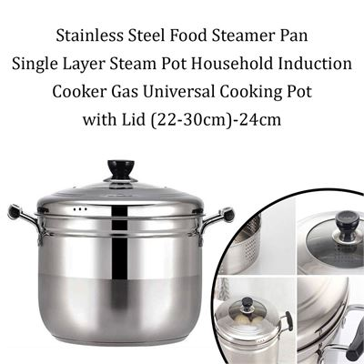 Stainless Steel Food Steamer Pan, Single Layer Steam Pot Household Induction Cooker Gas Universal Cooking Pot with Lid (22-30cm)-24cm