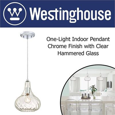 NEW Westinghouse 6328700 One-Light Indoor Pendant, Chrome Finish with Clear Hammered Glass