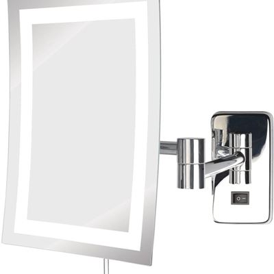NEW Jerdon JRT710CL 6.5-Inch by 9-Inch LED Lighted Wall Mount Rectangular Makeup Mirror, Chrome Finish