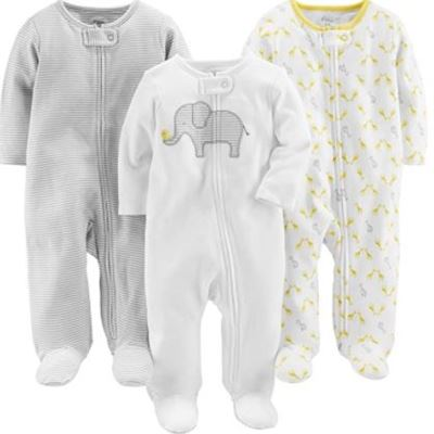 New Simple Joys by Carter's Unisex-Baby 3-Pack Neutral Sleep and Play Footie