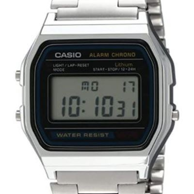 New Casio Men's A158W-1 Classic Digital Stainless Steel Bracelet Watch
