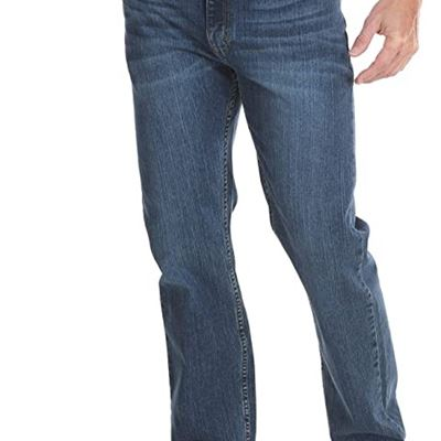 NEW Wrangler Mens Classic 5-Pocket Regular Fit Flex Jean Jeans, 34W x 29L, Blue Ocean Flex
