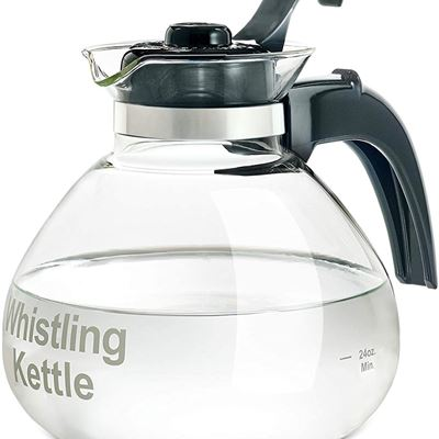 NEW Medelco 12-Cup Glass Stovetop Whistling Kettle by Tea Kettles