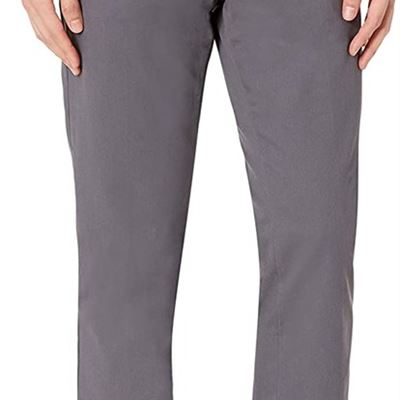 NEW Essentials mens standard Slim-fit Wrinkle-resistant Flat-front Chino Pant, 40W x 28L, Grey