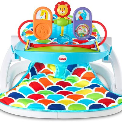 New Fisher-Price Deluxe Sit-Me-Up Floor Seat with Toy Tray Happy Hills