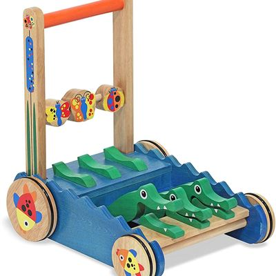 New Melissa & Doug Chomp & Clack Alligator Push Toy (Wooden Activity Walker, Makes Sounds When Pushed, Great Gift for Girls and Boys