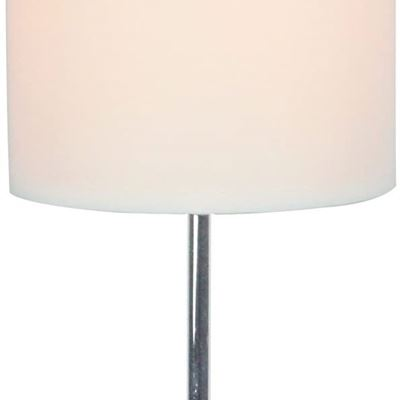 New Simple Designs All The Rages LT2007-WHT Mini Basic Table Lamp with White Shade, Chrome