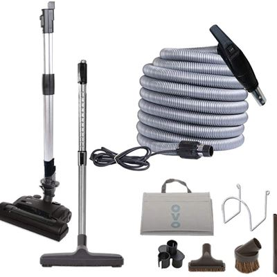 New OVO Central Vacuum Carpet Deluxe Accessory Kit, with 35ft High-Voltage Hose with Pigtail, On-Off Switch at The Handle