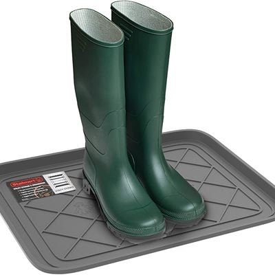 New Stalwart 75-ST6105 Weather Boot Tray-Small Water Resistant Plastic Utility Shoe Mat for Indoor and Outdoor Use in All Seasons (Grey)