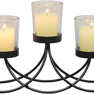 New Briarwood Black Metal Votive Candelabra, Decorative Candle Centerpiece, Elegant Candle Holders, Centerpiece for Weddings, Parties, Dining Table